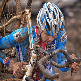 Bike On The Shoulder by Marco Bertamé - Sports & Fitness Cycling ( blue, cyclocross, bicycle )
