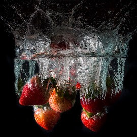 Strawberry Splash by Gurung Purna - Food & Drink Fruits & Vegetables ( colourful, splash, fruits, strawberry, photography )