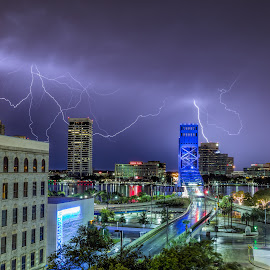 bang bang by Lee Holt - Buildings & Architecture Architectural Detail ( thunerstorm, urban, jacksonville, urbam, lightning, downtown, rain )