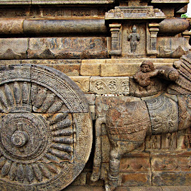chariot carving by Venkat Krish - Buildings & Architecture Architectural Detail ( #history, #old, #horse, #stone, #wheel, #sculpture, #chariot, #temple, #carve )