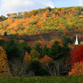 Small Town Church by Kim Jones - Landscapes Mountains & Hills ( hill, mountain, steeple, church, autumn, fall )