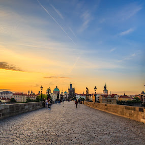 Sunrise at Charles Bridge by Valliappan Chellappan - Buildings & Architecture Bridges & Suspended Structures ( architecture, bridge, sunrise, sun, bohemian )