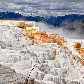 Travertine Terraces by Santford Overton - Landscapes Mountains & Hills ( clouds, mountains, sky, nature, colors, landscape, landscapes, steam,  )