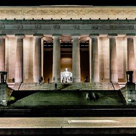 Lincoln Memorial by Ken Brown - Buildings & Architecture Statues & Monuments ( building, lincoln, memorial, architecture, steps, landscape, lights, washington d.c., statue, winter, cold, night, cement, pillars,  )