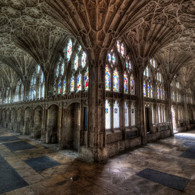 Gloucester Cathedral Cloister by Corin Spinks - Buildings & Architecture Places of Worship ( film location, gloucester, arches, cloister, windows, harry potter, cathedral, light, stained glass )