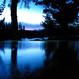 Feeling Blue by Kim Pauly - Novices Only Landscapes ( reflection, blue, experimental, new zealand, nightscape,  )