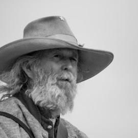 B&W Bearded Colonel by Eva Ryan - People Portraits of Men ( oklahoma, black & white, battle of round mountain, male, outdoors, beard, yale_ok, civil war re-enactment, man, hat )