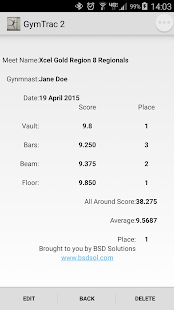 Gymnastics Meet Tracker - screenshot