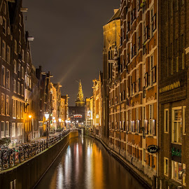 Canals of Amsterdam by Marcel Eringaard - City,  Street & Park  Street Scenes ( night photography, holland, d7100, the netherlands, nightview, night, amsterdam, nacht, nikon, night shot, nightscapes, nightscape )