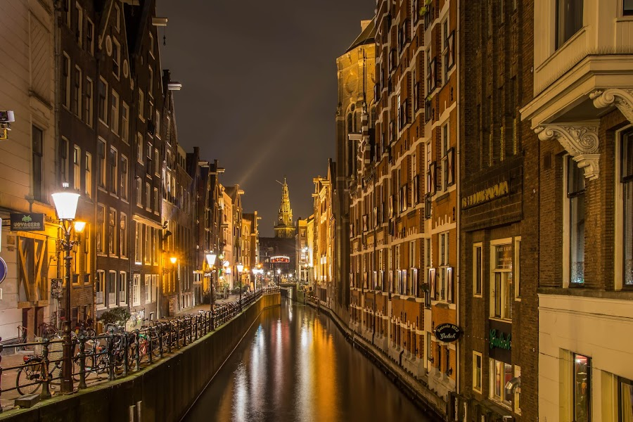 Canals of Amsterdam by Marcel Eringaard - City,  Street & Park  Street Scenes ( night photography, holland, d7100, the netherlands, nightview, night, amsterdam, nacht, nikon, night shot, nightscapes, nightscape,  )