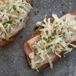 Turkey and Goat Cheese Open-Faced Sandwiches with Tangy Apple Slaw