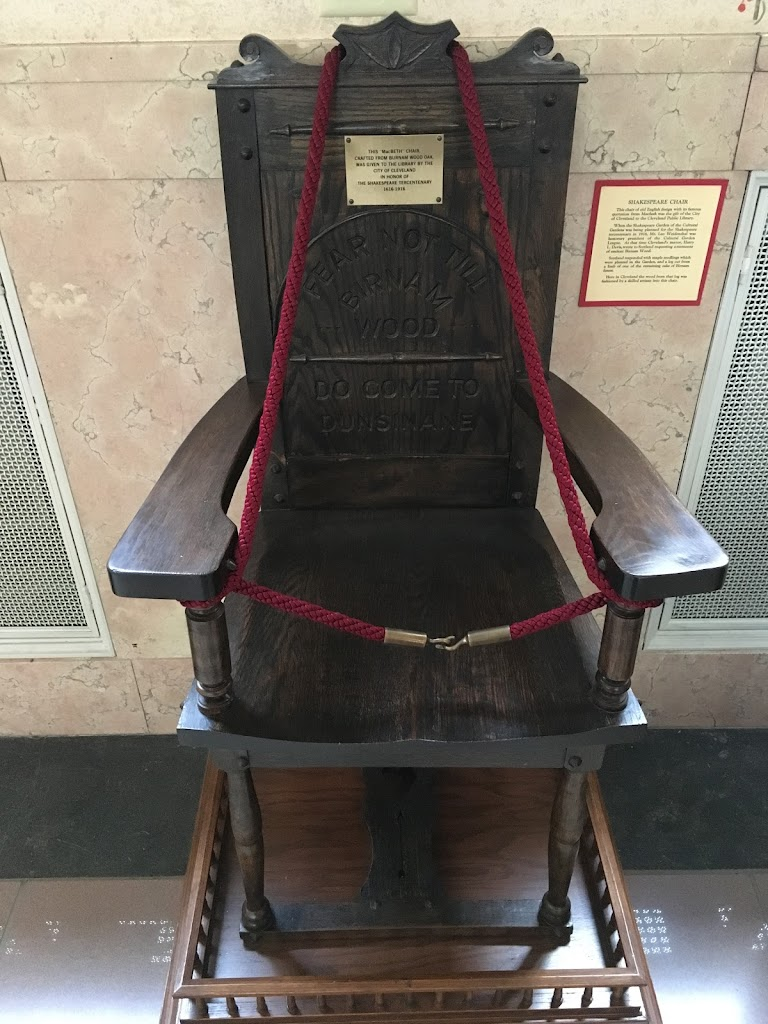 """This """"MacBeth"""" Chair, crafted from Burnham Wood oak, was given to the library by the City of Cleveland in honor of the Shakespeare tercentenary 1616 - 1916  Submitted by Bryan Arnold @nanowhiskers"""