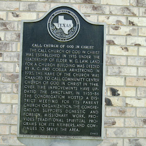 The Call Church of God in Christ was established in 1915 under the leadership of Elder W. G. Law. Land for a church building was deeded by A. C. and Coella Armstrong in 1935. The name of the church ...