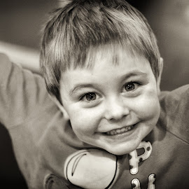 Happy by Dan Horton-Szar ARPS - Babies & Children Child Portraits ( child, black and white, happy, smile, boy, portrait )