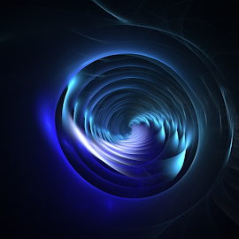 Whirlpool by Nancy Bowen - Illustration Abstract & Patterns ( fractal, whirlpool, blues )