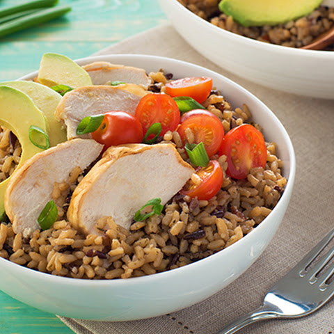 Chicken and Avocado Power Rice Bowl with Red Wine Vinaigrette