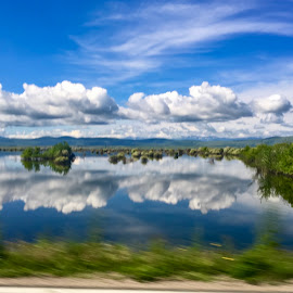 Reflections by Di Mc - Instagram & Mobile iPhone ( reflections, clouds, lake, landscape,  )