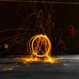 Steel Wool by Brendan Simpson - Abstract Fire & Fireworks ( steel wool photography, steel wool, nighttime, long exposure, steel, fire )