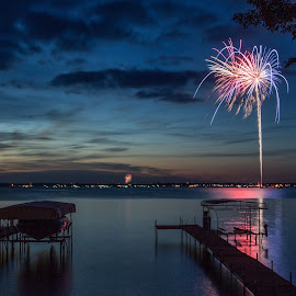 Peaceful Celebration by Mike Karels - Landscapes Waterscapes ( water, iowa, peaceful, nature, okoboji, fireworks, lake, july 4th, usa, celebrate, indpendence day )