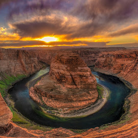 Horseshoe Bend sunset by Joel Jones - Landscapes Sunsets & Sunrises ( colorado river, nature, arizona, red rock, landscape photography, travel, landscape, horseshoe bend, wanderlust, grand canyon )