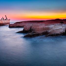 by Theodoros Theodorou - Transportation Boats ( moon, edro iii, shipreck, sky, paphos, sunset, fujifilm,  )