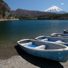 one two four by Fred Goldstein - Landscapes Travel ( fishermen, mountain, japan, fuji, lake )
