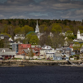Small New England Town by Ruth Sano - City,  Street & Park  Vistas ( clouds, vista, scenery, town, photography )