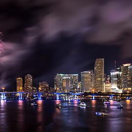 Miami Fireworks by Jean Perrin - City,  Street & Park  Skylines