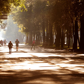 Runners by Cristobal Garciaferro Rubio - People Street & Candids ( mexico city, mexico, street, riunner, trees, people )