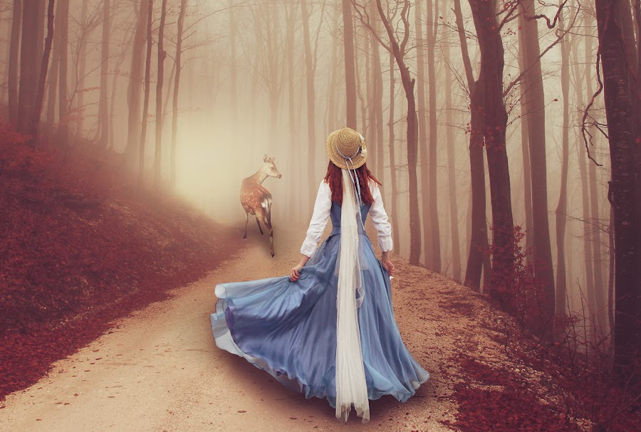 The Guide by Denisa Jurubita - Digital Art People ( guide, girl, fog, dark, forest, stag, blue dress, deer, follow )