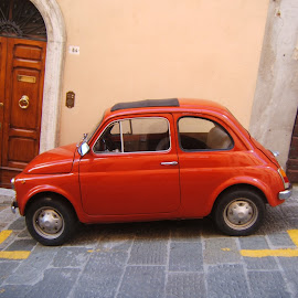 A space just for a Fiat 500 by Pauleen Stewart - Transportation Automobiles ( car, parking, fiat, italy, red car )
