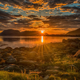 Midnightsun by Jens Andre Mehammer Birkeland - Landscapes Sunsets & Sunrises ( cloud, sunrise, ocean, reflection, sunset, clouds, sun, water, landscape, sea )
