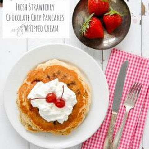 Fresh Strawberry Chocolate Chip Pancakes with Whipped Cream