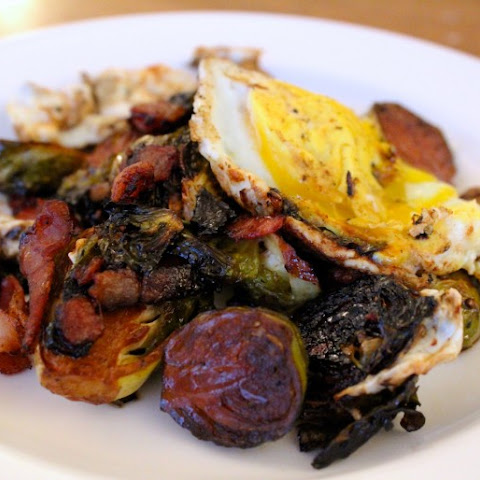Balsamic-Braised Bacon Brussels Sprouts with Fried Egg