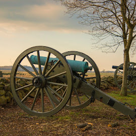 Gettysburg National Battlefield - Morning by Jay W. Putt - City,  Street & Park  Historic Districts ( battlefield, fall, civil war, gettysburg, cannon )