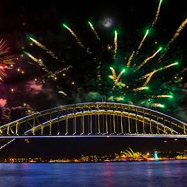 Bridge Fireworks and Moon  by Jason Kryger - Buildings & Architecture Bridges & Suspended Structures ( 2015, harbour, fireworks, bridge, sydney )