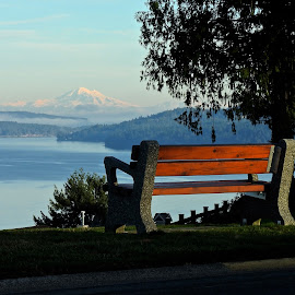 Sit a While by Campbell McCubbin - City,  Street & Park  Vistas ( mountain, bench, mt. baker, ocean, golden hour,  )