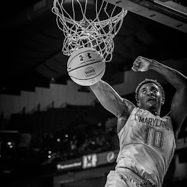 Darryl Morsel dunks by Ed Shanahan - Black & White Sports ( basketball, university of  maryland, randolph macon, darrylmorsell, college park, maryland basketball, infinity center )