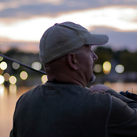 Salmon Angler after Sunset by Big Pikey - People Street & Candids ( salmon angler, fishing portrait after dusk, beautiful bokeh, available light angler portrait, available light dusk portrait, available light fishing portrait, angler with bokeh background, sunset salmon fishing portrait )
