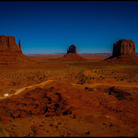 On the Road by Fred Coleman - Landscapes Travel ( navajo, monument valley, navajo tribal park, southwest, mittens, monument, travel, west )