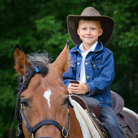 by Kristina Nutautiene - Babies & Children Child Portraits ( cowboy, horse, children, brown, portrait,  )