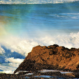 Rainbow Wave by Lori Pagel - Landscapes Beaches ( colorful, rocky, rock, ocean, beach, yellow, coast, beaches, sky, nature, shadow, wet, rocks, water, orange, waves, colors, green, coastal, shadows, red, blue, color, outdoors, rainbow, foam )