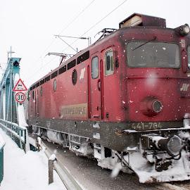 Locomotive by Ivan Gligorijevic - Transportation Trains ( winter, railway, engine, electric, railroad, locomotive, snow, train, bridge, storm )
