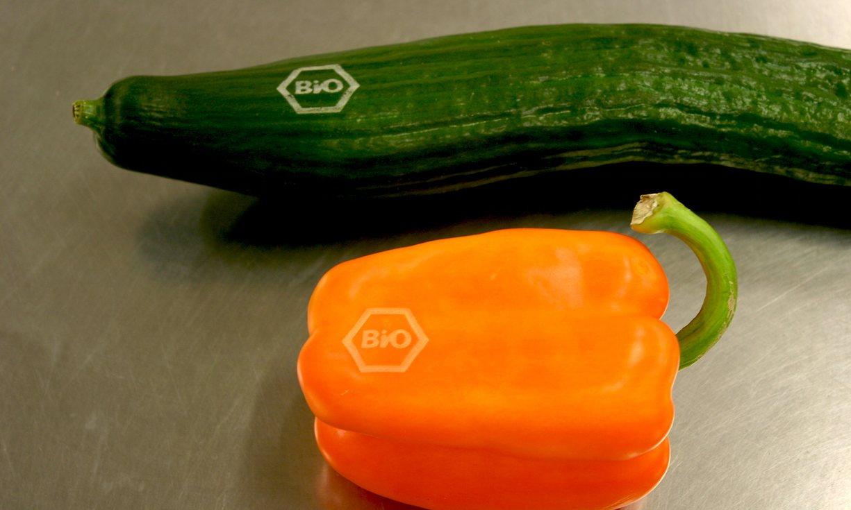 Legumes com marca laser