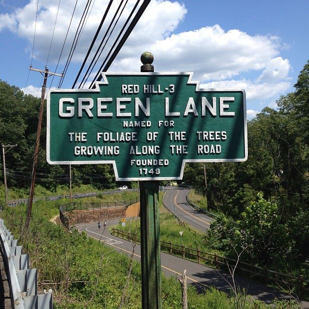 A 2013 roadside find in rural Pennsylvania that required a walk back along a shoulderless road to get a picture. The text is ... minimalist in several respects:Green LaneNamed for the foliage of the ...