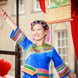 Chinese dancer by Carol Henson - People Musicians & Entertainers ( northampton, colourful, 7d, woman, march 2015, chinese new year, portrait, dancer )