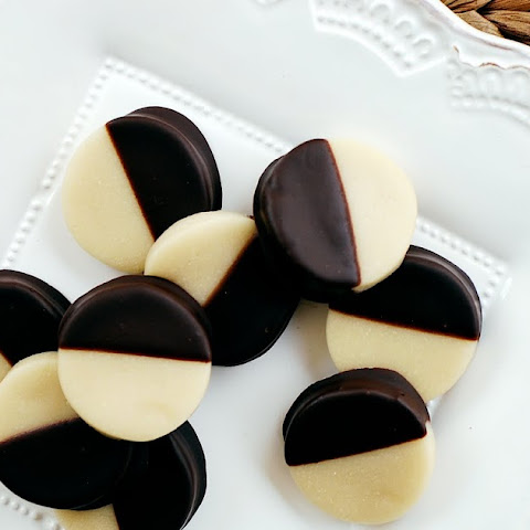 Chocolate-Dipped Marzipan Coins