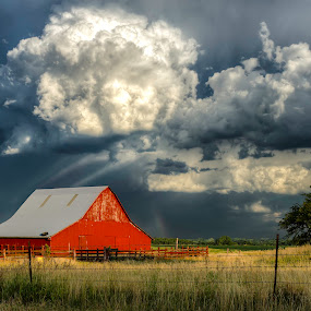The Red Barn by Christian Skilbeck - Landscapes Cloud Formations ( barn, farmland, cloudscape, storm, kansas )