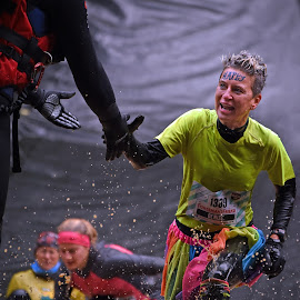 Happy Denise by Marco Bertamé - Sports & Fitness Other Sports ( water, differdange, splatter, splash, number, yellow, soup, running, luxembourg, pimlk, hand, muddy, help, stgrongmanrun, 1389, strong, happy, woman, lady, brown, denis )