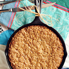 Cast Iron Butterscotch-Oatmeal Cookie Skillet With Butterscotch-Bourbon Drizzle